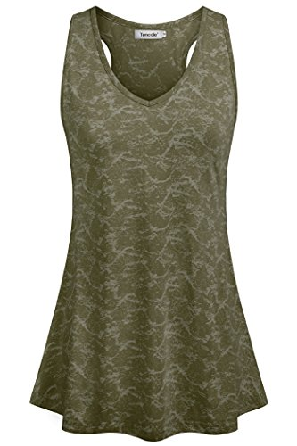 Tencole Exercise Tops for Women Oversized Summer Tank Top Activewear Women Tank Tops That Hide Belly Women Army Green 2XL