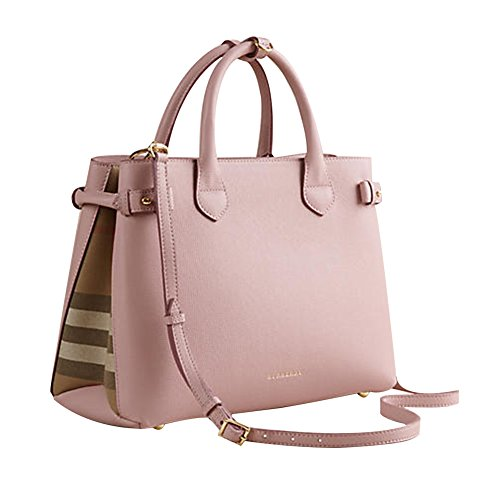 Tote Bag Handbag Authentic Burberry Medium Banner in Leather and House Check Pale Orchird Item
