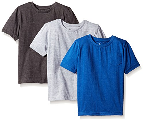 American Hawk Big Boys 3 Piece Pack Crew Neck Pocket T-Shirt, Marled Royal/Charcoal/Heather Grey, 10/12
