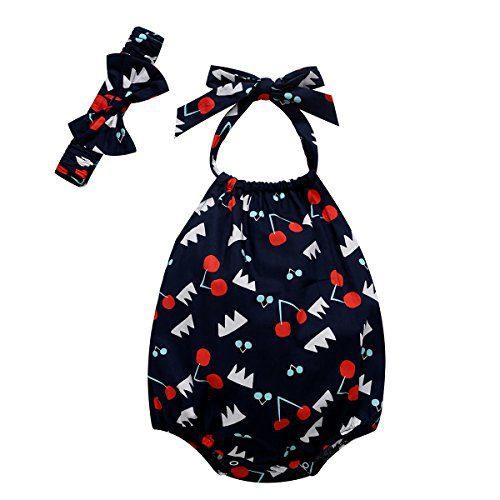 Baywell Baby Girl Romper Sleeveless Fruit Cherry Pattern Printed Halter Jumpsuit + Headband