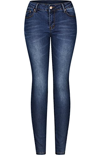 2LUV Women's Stretchy 5 Pocket Skinny Jeans Medium Wash 5