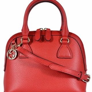 Gucci Women's Leather 2-Way Convertible GG Charm Small Dome Purse (Red)