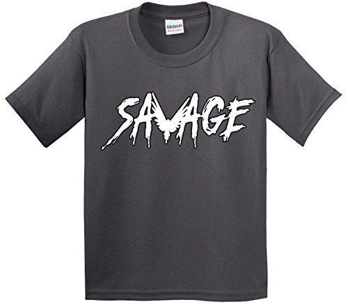 Youth T-Shirt Savage Maverick Logang Logan Paul Large Charcoal