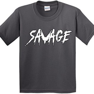 Youth T-Shirt Savage Maverick Logang Logan Paul Large Charcoal