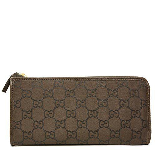 Gucci Monogram GG Logo Brown Nylon and Leather Zip Around Wallet
