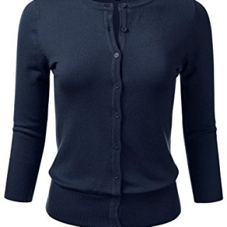 FLORIA Womens Button Down 3/4 Sleeve Crew Neck Knit Cardigan Sweater Navy L