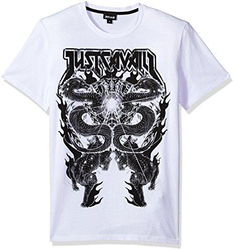 Just Cavalli Men's Graphic Tee, White, L
