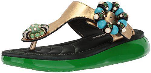 Marc Jacobs Women's Mabel Embellished Flat Sandal, Gold, 37 M EU (7 US)