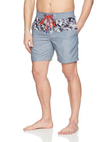 Robert Graham Men's Luau Woven Swim Trunks, Grey, 38