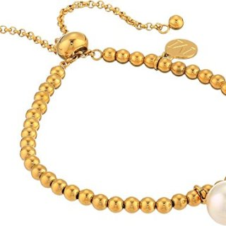 Majorica Women's 10mm Round Pearl on Gold Plated Steel Beaded Bracelet 6.5-11¿ White One Size