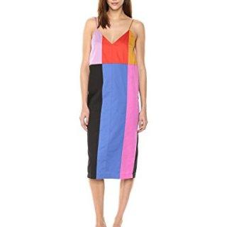 Mara Hoffman Women's Georgia Spaghetti Strap Midi Shift Dress, Patchwork Rainbow/Multi, X-Small