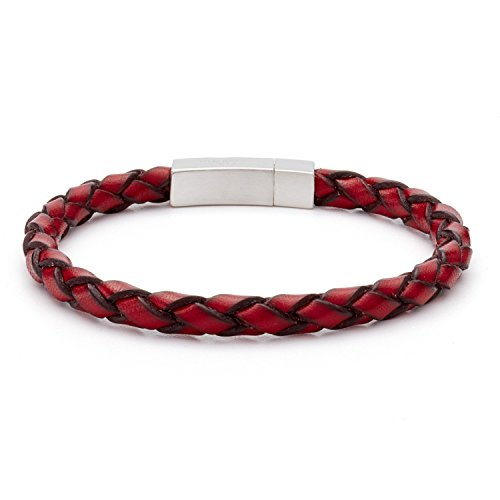 Tateossian Bracelet Red Italian Leather with Rhodium Clasp, Large 18cm length