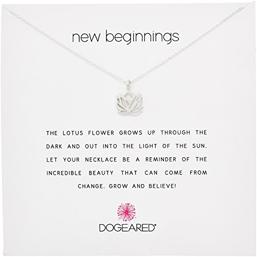 "Dogeared Reminder New Beginnings Sterling Silver Rising Lotus Pendant Necklace, 16"" + 2"" Extender"