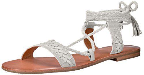 FRYE Women's Ruth Whipstitch Ankle Gladiator Sandal, White, 7.5 M US
