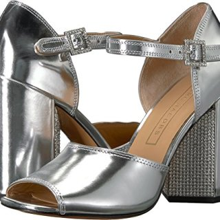 Marc Jacobs Women's Kasia Strass Heeled Sandal, Silver, 38.5 M EU (8.5 US)