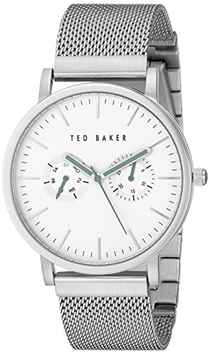 Ted Baker Men's Smart Casual Silver Case Multi-Function Mesh Strap Watch