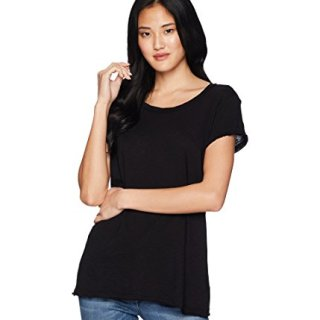 Michael Stars Women's Supima Cotton Slub Crew Neck Tee, Black, One Size