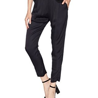 Enza Costa Women's Viscose Sateen Pleated Easy Pant, Black, 2