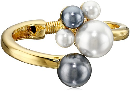 Kenneth Jay Lane Polished Gold-Plated Bracelet with White and Grey Pearl Cluster