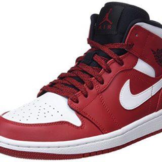 Nike : Mens Air Jordan 1 Mid Gym Red/White/Black Basketball Sneakers (10 D(M) US Men)