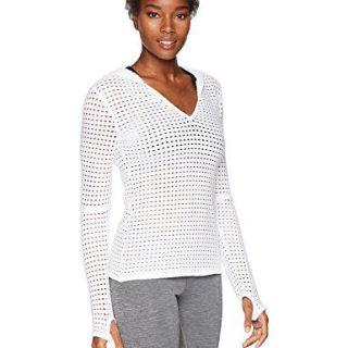 Trina Turk Recreation Women's Solid Mesh Hoodie Long Sleeve Top, White, Medium