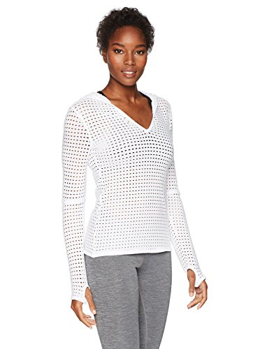 Trina Turk Recreation Women's Solid Mesh Hoodie Long Sleeve Top, White, Medium