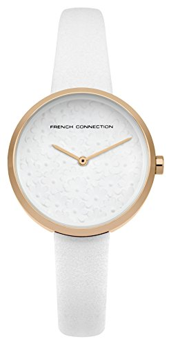 French Connection Women's Quartz Metal and Leather Casual Watch, Color:White