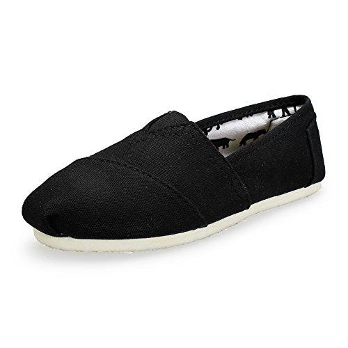 Unisex Men Women's Canvas Slip On Shoe Sneaker Flat (Black 44)