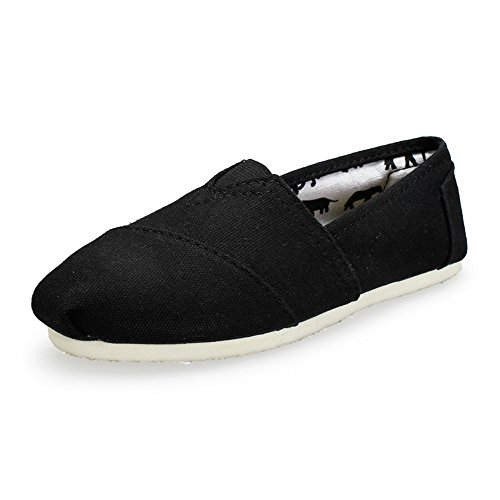 Unisex Men Women's Canvas Slip On Shoe Sneaker Flat (Black 44)