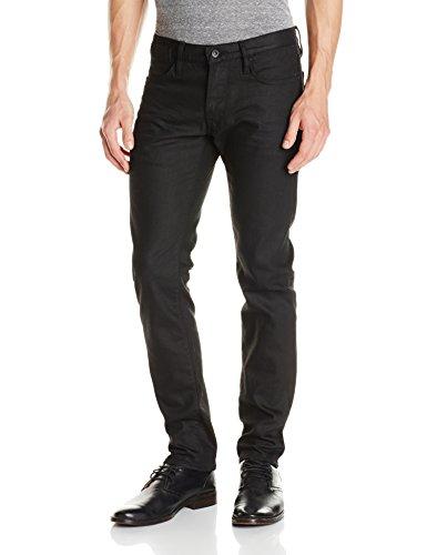 John Varvatos Star USA Men's Bowery Fit V Stitch Pocket Jeans, Jet Black, 34 Regular