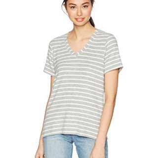 Michael Stars Women's Madison Brushed Stripe Short Sleeve v-Neck with Side Slits, Heather Grey/Chalk, L