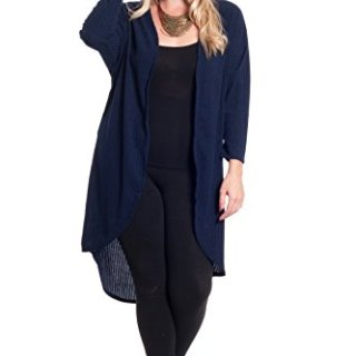 Hot Ginger Women's Plus Size Long Sleeve Open Front Cardigan, Navy, 2X