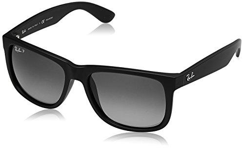 Ray-Ban Men's Justin Polarized Sunglasses, Black Rubber, 55mm