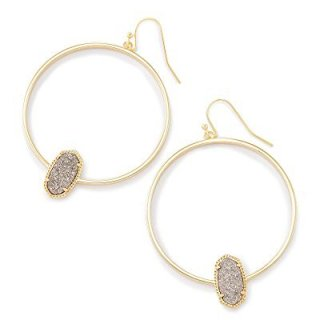 Kendra Scott Elora Hoop Earrings (Gold/Platinum Drusy)