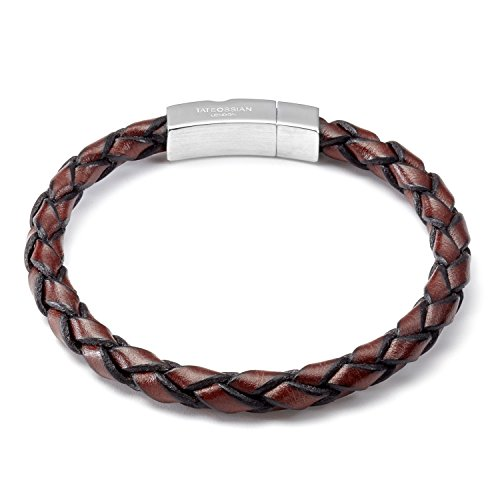 Tateossian Mens Single Wrap Scoubidou Brown Leather Bracelet with Silver Clasp, Large 19.5CM