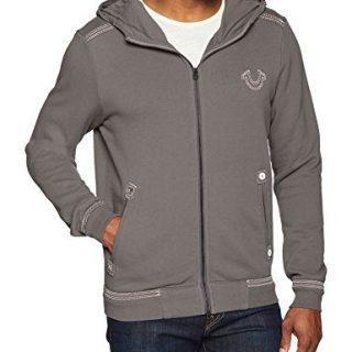 True Religion Men's Hoodie with QT Stitch, Charcoal Grey, XL