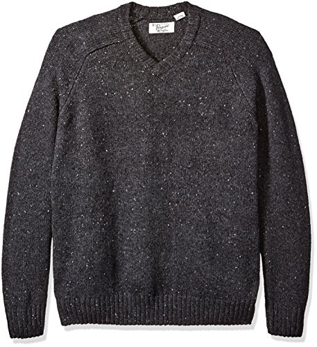 Original Penguin Men's Tall Raglan Donegal Sweater, Dark Charcoal Heather, 3X Big
