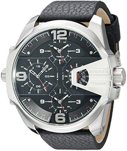 Diesel Men's Uber Chief Stainless Steel Black Leather Watch