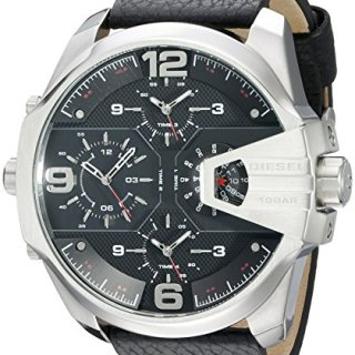 Diesel Men's Uber Chief Stainless Steel Black Leather Watch