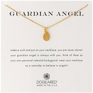 Dogeared Guardian Angel' Charm Bead Gold Plated Sterling Silver Chain Necklace