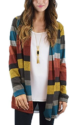 ECOWISH Womens Cardigans Striped Long Sleeve Open Front Stitching Casual Kimono Cardigans Red L