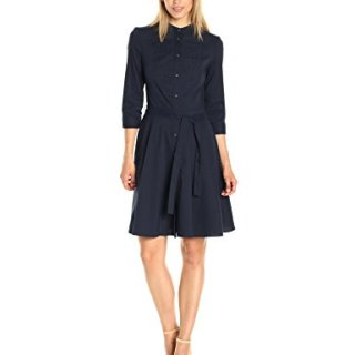 A|X Armani Exchange Women's Half Sleeve Eyelet Bib Button up Woven Dress, Navy, 8