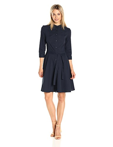 A X Armani Exchange Women's Half Sleeve Eyelet Bib Button up Woven Dress, Navy, 8