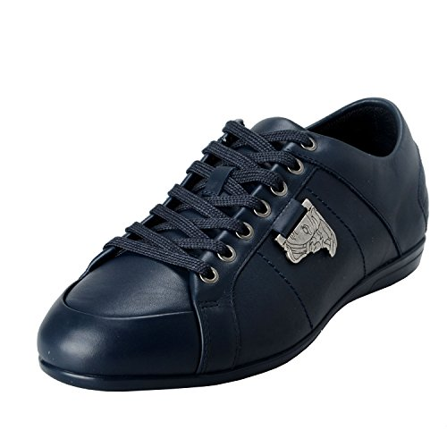 Versace Collection Men's Blue Leather Fashion Sneakers Shoes US 7 IT 40;