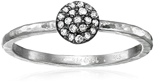 Gurhan Lentil Pave Diamond Sterling Silver Stackable Ring (1/10cttw, I-J Color, I2 Clarity), Size 6.5
