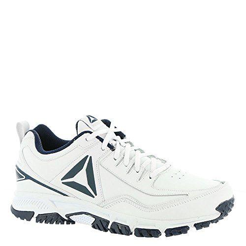 Reebok Men's Ridgerider Leather Sneaker, White/Coll. Navy-Wide e, 12 4E US