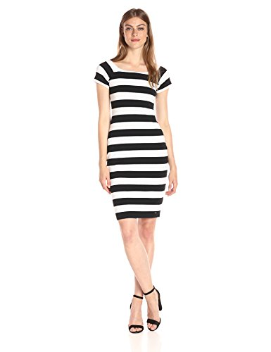 A|X Armani Exchange Women's Scoop Neck Cap Sleeve Knee Length Body Con Striped Dress, Black/White, Medium