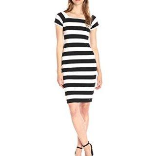 A|X Armani Exchange Women's Scoop Neck Cap Sleeve Knee Length Body Con Striped Dress, Black/White, Medium
