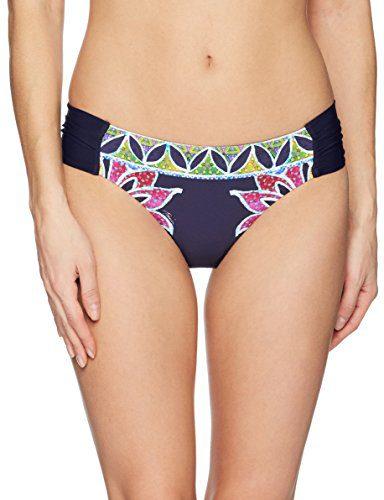 Trina Turk Women's Side Shirred Hipster Bikini Swimsuit Bottom, Navy/Lotus Batik Print, 10