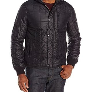 John Varvatos Men's Quilted Hooded Jacket, Black, Medium